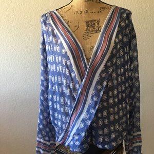 Free People mock wrap semi sheer blouse Med